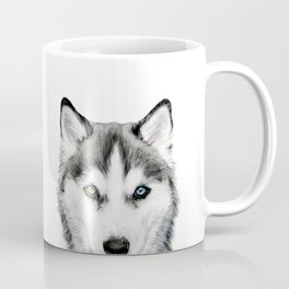 Siberian Husky dog with two eye color Dog illustration original painting print Coffee Mug