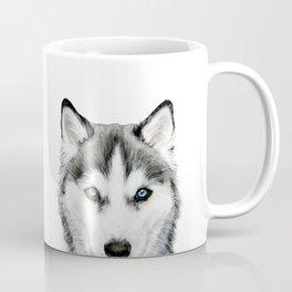 Siberian Husky dog with two eye color Dog illustration original painting print Coffee Mug