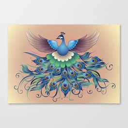 Peacock fly, in a decorative style Canvas Print