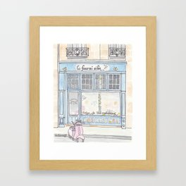 Paris Blue Cafe with Pink Scooter Cat  Framed Art Print