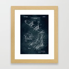 1995 - Plateless snowboard binding device patent art Framed Art Print