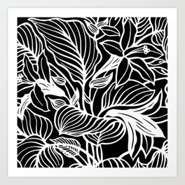 Black White Floral Art Print
