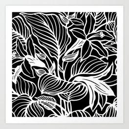 Black White Floral Minimalist Art Print