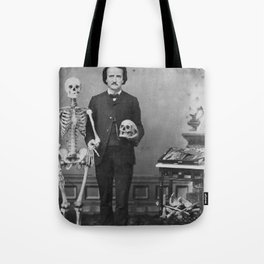 Goth Inspired Edgar Allan Poe Skull and Feather Tote Bag Purple and White Beach Tote Bag