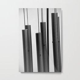 Wind Chimes bw Metal Print