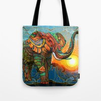 colorful Tote Bags featuring Elephant's Dream by Waelad Akadan