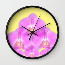 TROPICAL PINK ORCHIDS & YELLOW FLORAL ABSTRACT Wall Clock