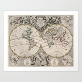 Vintage Map of The World (1721) Art Print
