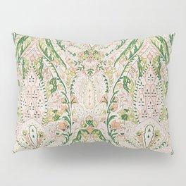 Green Pink Leaf Flower Paisley Pillow Sham