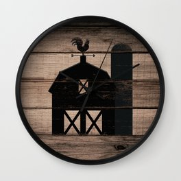 Black Rustic Barn & Rooster Wall Clock