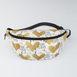 Pilates poses and heart seamless pattern in gold color Fanny Pack