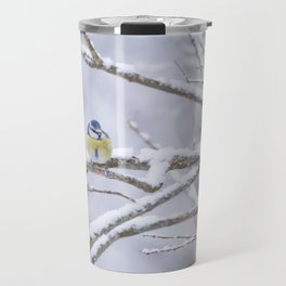 Blue Tit On A Snowy Branch Winter Scene #decor #society6 Travel Mug