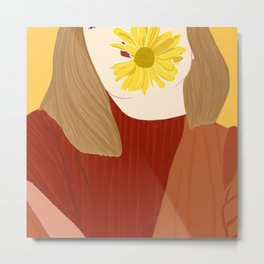 Girl and her flower Metal Print