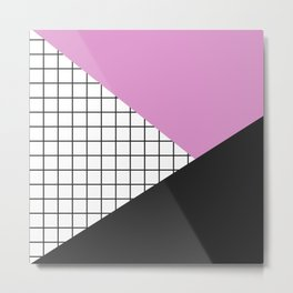 Geometry: black, pink and squres Metal Print
