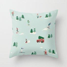 Vintage Snow Scene Throw Pillow