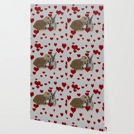 Hearts and Bunnies Wallpaper