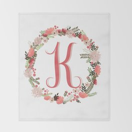 Personal monogram letter 'K' flower wreath Throw Blanket