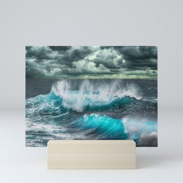 Turquoise Sea and Clouds Mini Art Print