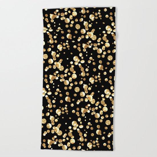 Golden confetti. Brilliant . Beach Towel