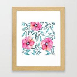 Pink Garden Flowers Framed Art Print