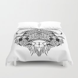 BISON head. psychedelic / zentangle style Duvet Cover