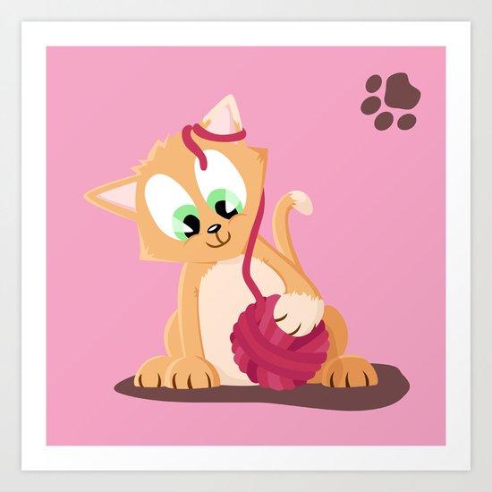 Kitten number 2 of 3 copper cats Art Print