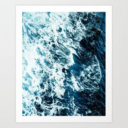 Water, Sea, Ocean, Wave, Blue, Nature, Modern art, Art, Minimal, Wall art Art Print