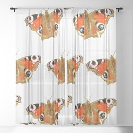 Beautiful Peacock Butterflies On A White Background #decor #society6 Sheer Curtain