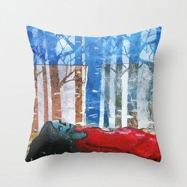 Skull Among Birches Throw Pillow
