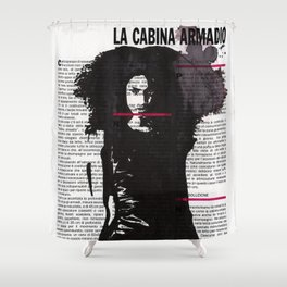 Karina - ink drawing over vintage magazine page Shower Curtain