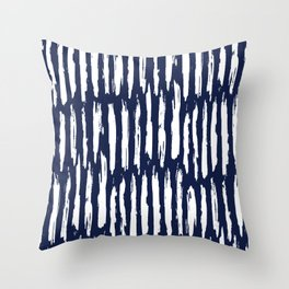 Vertical Dash White on Navy Blue Paint Stripes Throw Pillow