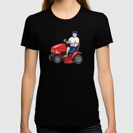 Gardener Mowing Rideon Lawn Mower Cartoon T-shirt