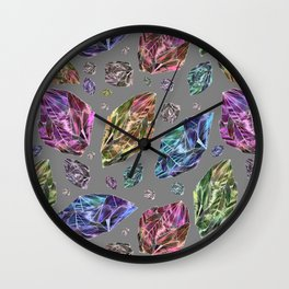 Geometric Rainbow Space Gems - Watercolor Wall Clock