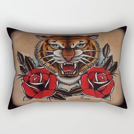 Old School Tiger and roses - tattoo Rectangular Pillow