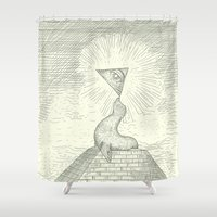 seal Shower Curtains featuring the Masonic Seal by Jonah Makes Artstuff
