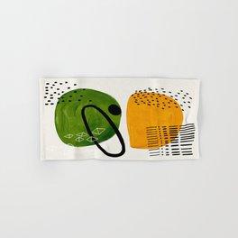 Mid Century Modern Abstract Colorful Art Patterns Olive Green Yellow Ochre Orbit Geometric Objects Hand & Bath Towel