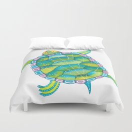 Tropical sea turtle - turquoise aqua blue Duvet Cover