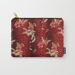Wild Red Leopard and Flowers Carry-All Pouch