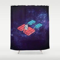 spaceship Shower Curtains featuring Mapbox spaceship by TatianaVC