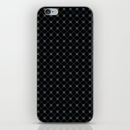 PPG Night Watch Pewter Green Thin Line Stripe Grid (Pinstripe) and Polka Dots on Black iPhone Skin