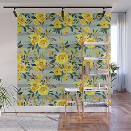 Modern hand painted yellow green watercolor stripes floral Wall Mural
