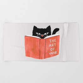 Cat reading book Beach Towel