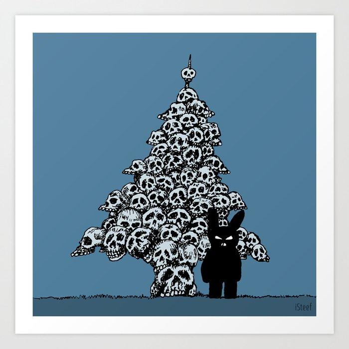 the black bunny of doom and his skull christmas tree art print by