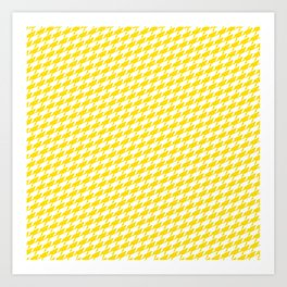 Sharkstooth Sharks Pattern Repeat in White and Yellow Art Print