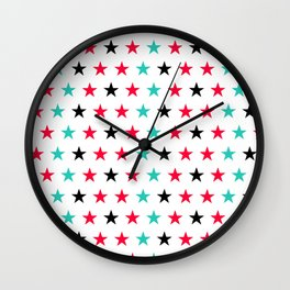 Stars pattern in black, red and turquoise Wall Clock