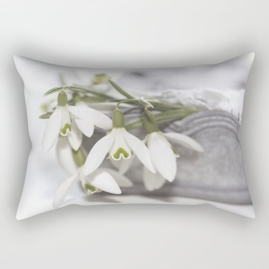 Snowdrops still life - Flower Floral Flowers #Society6 Rectangular Pillow