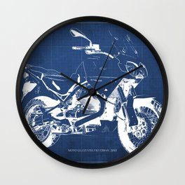 Motorcycle blueprint,2010, Moto Guzzi Stelvio, 1200 4V,poster,man cave decoration,vintage art Wall Clock
