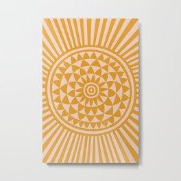Geometric Yellow Sun  Metal Print
