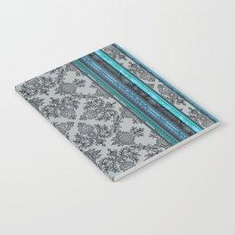 Teal, Aqua & Grey Vintage Bohemian Wallpaper Stripes Notebook