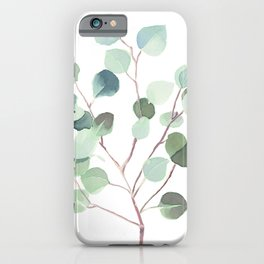 Eucalyptus Leaves Botanical Print iPhone Case